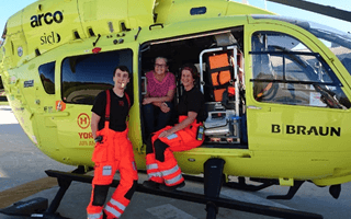 Joanne Laythorpe visit to Yorkshire Air Ambulance