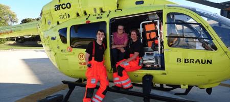 Joanne Laythorpe visit to Yorkshire Air Ambulance
